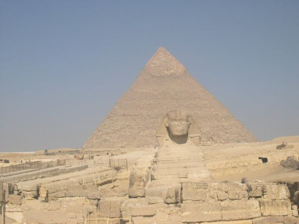 SPHINX AND PYRAMID; CAIRO